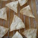 Tortilla wedges on baking rack
